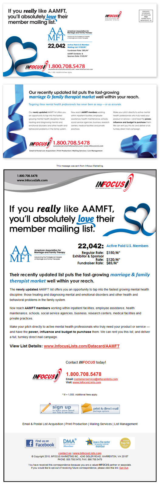 Postcard and HTML Email Design for AAMFT